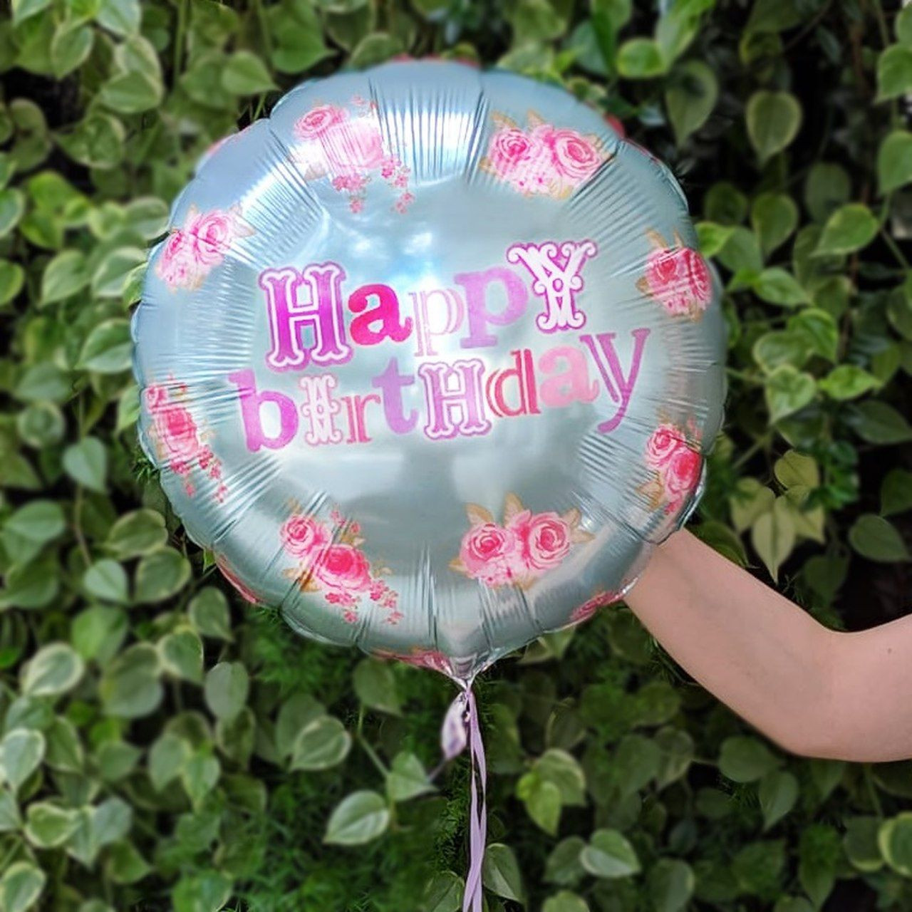 Balão Gás Hélio Rosa Happy Birthday