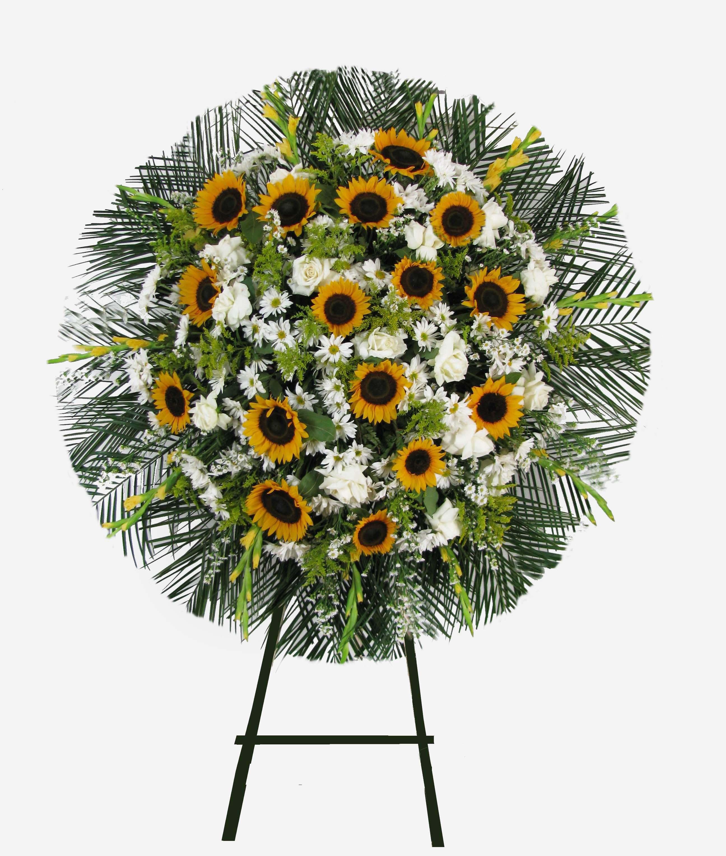 Coroas de flores com girassol