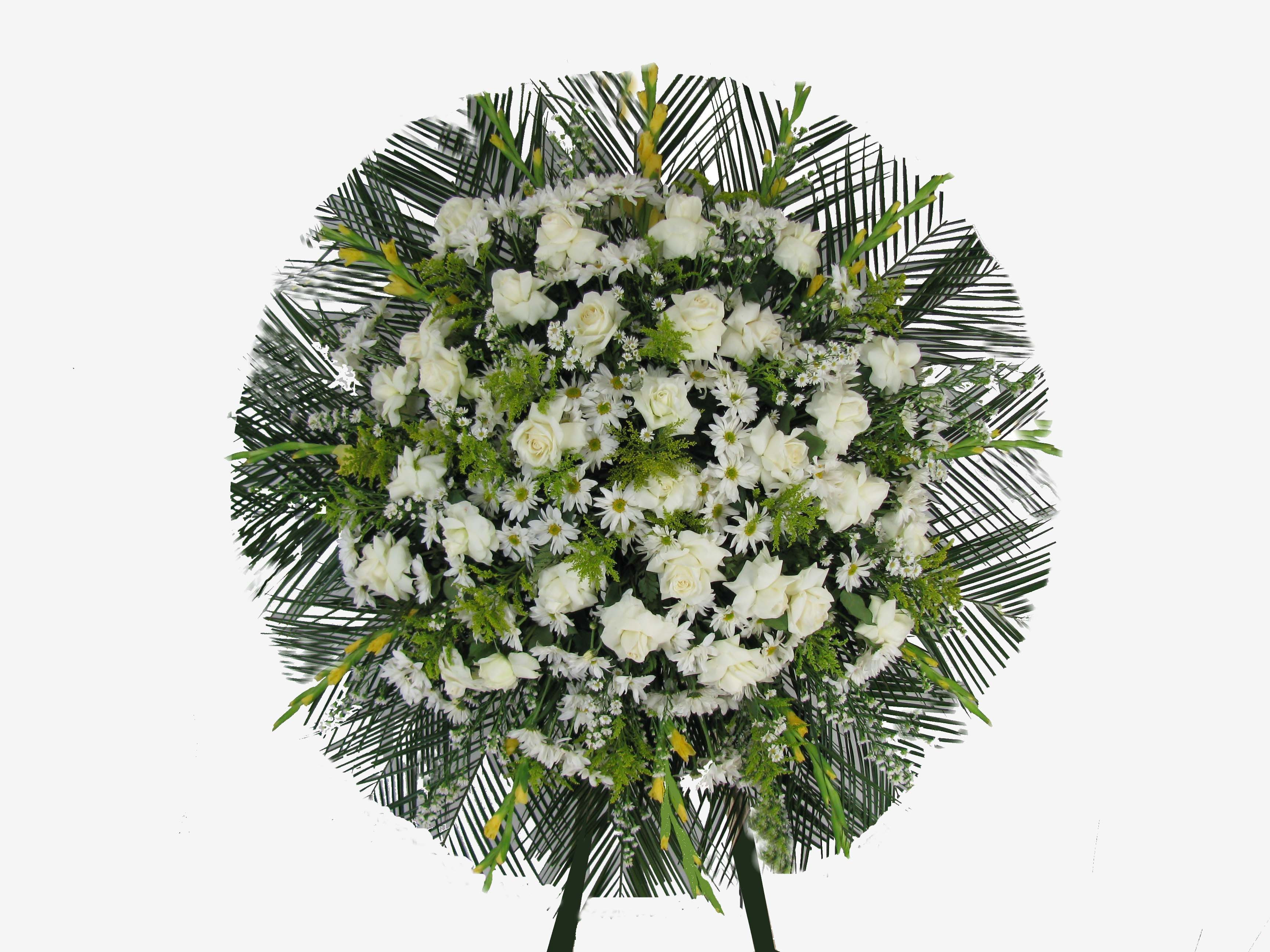 Coroas de rosas brancas