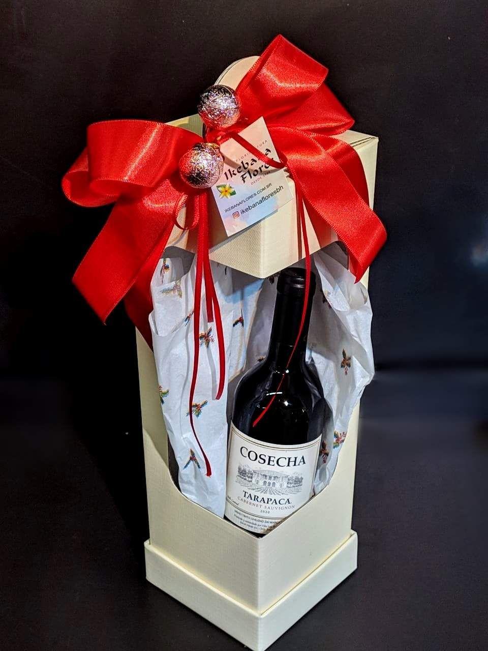 Caixa de Presente com Vinho - Natal