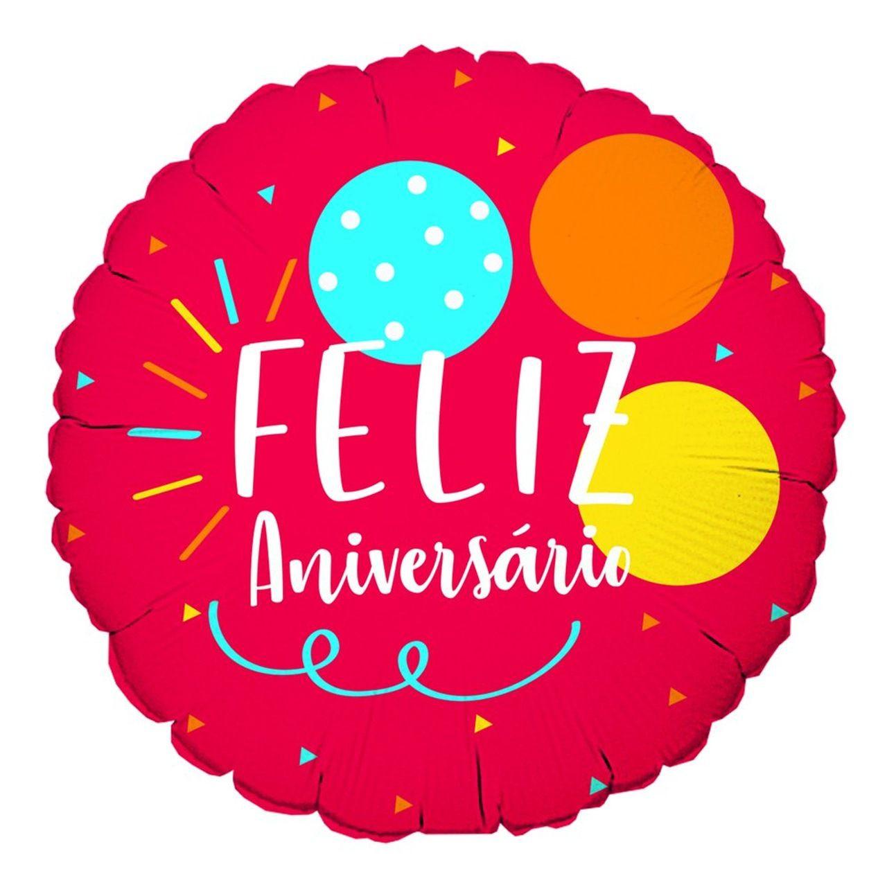 Balão Feliz aniversário vermelho Gás hélio- complemento