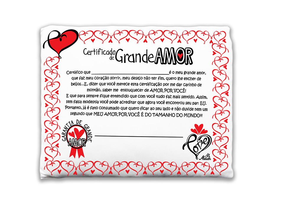 Almofada certificado grande amor