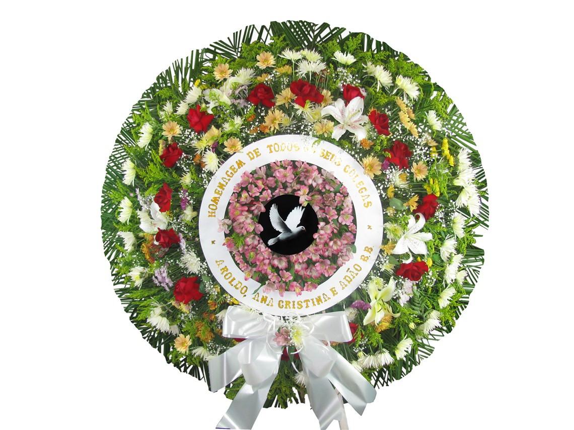 coroa de flor pomba