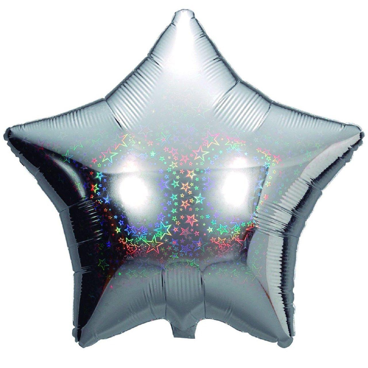 Balão Metalizado Estrela Holográfico Gás hélio- complemento