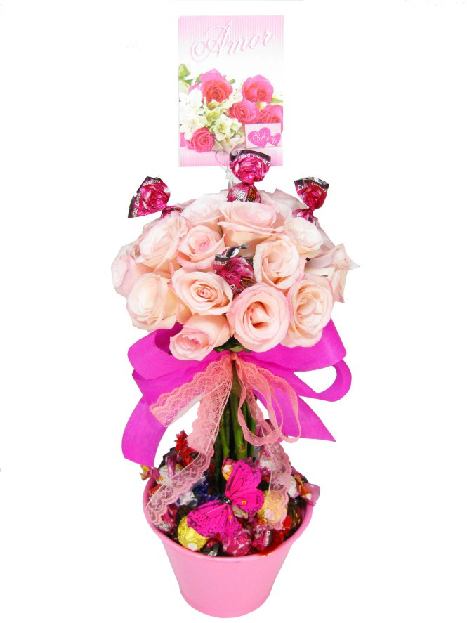 Topiaria rosas cor de rosa