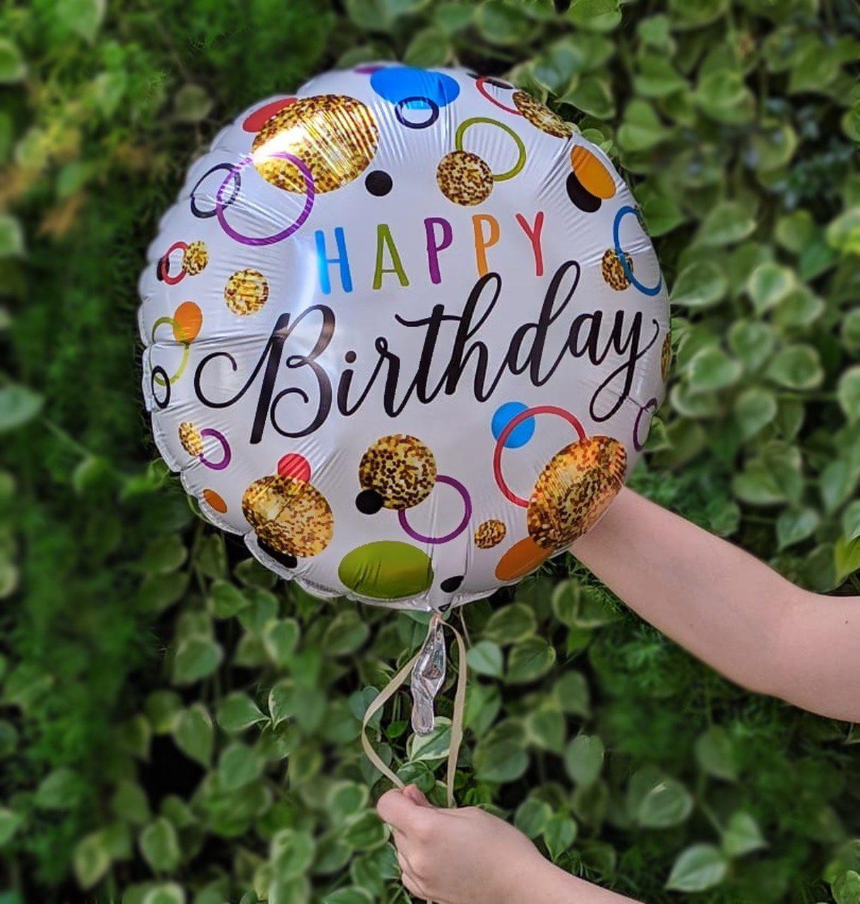 Balão Gás Hélio - Happy Birthday Branco