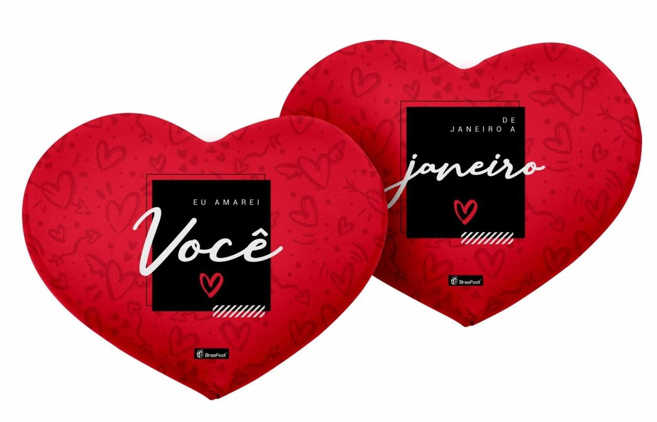 """Almofada """"Eu amarei você de janeiro a janeiro """" Frente e verso - Complemento"""